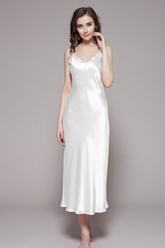 Luxury Silk Nightgowns For Women - Long   Short Sleeve 229 Satin Pjs 4ef1be96b