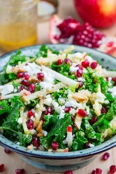 Apple and Pomegranate Quinoa and Kale Salad with Feta in aâ?¦