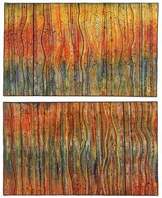 """Fireworks"" by Denver fiber artist Carol Ann Waugh. Thread Painting, Fabric Painting, Fabric Art, Textile Fiber Art, Textile Artists, Teal Art, Carol Ann, Collage Art, Paper Art"