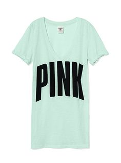 Mint green PINK tee<3  Victoria's Secret Pink - Pink -vs pink - vs - cute clothes - work out clothes - pajamas