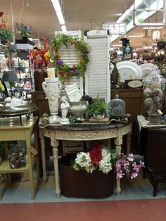 Darling entry table, cool vintage shutters