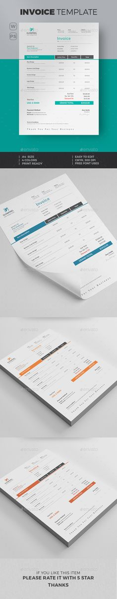 #Invoice - #Proposals & Invoices Stationery Download here: https://graphicriver.net/item/invoice/15816811?ref=alena994