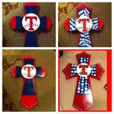 Large Texas Rangers Theme  Wood Cross by SignsBYDebbieHess on Etsy, $35.00