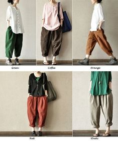This is the link to buy, but I would love tomake some like this !Coffee Lovely Loose Leisure Cotton Pants Casual by clothingshow Fashion Moda, Look Fashion, Korean Fashion, Fashion Outfits, Harem Pants, Trousers, Casual Outfits, Cute Outfits, Pants For Women