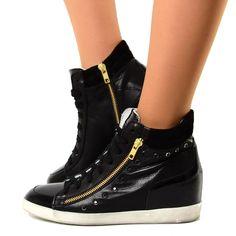 Sneakers Alte Donna con Zeppa Interna in Pelle con Strass Nere