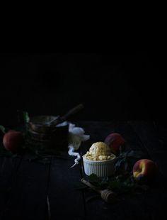 super rich, creamy honey goat cheese ice cream with homemade roasted peach ripple