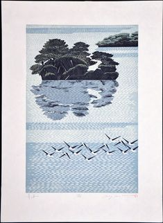 Title: Blue Ocean - sold Dimensions: 23x17 in. paper Condition: no problems to note Signature & Seals: pencil signed and numbered Artist Name: MORIMURA Rei (b. 1948) Japanese Title: Seikai Medium: relief print using both woodblock and linoleum block Edition: 60 Year: 1992