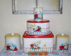 My vintage tins poppies and wheat collection!