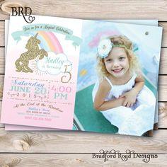 Unicorn Magical Party Invitation Unicorn Birthday Pastel Gold Customizable 5x7Photo Invitation Printable Rainbow Unicorn Pink Girl Birthday by BradfordPartyDesigns on Etsy https://www.etsy.com/au/listing/238803737/unicorn-magical-party-invitation-unicorn