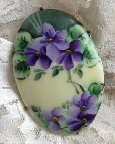 Victorian Hand Painted Porcelain Violets Flowers Brooch