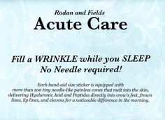 Customer - Say What???  Consultant - YES, Redefine Acute Care Fills Wrinkles While You Sleep!! Customer - HOW CAN I GET IT??? Consultant - Consultants can purchase until Sept. 27, Preferred Customers can but it at the Consultant price at the end of October, and then it will be released for everyone in January (2015)....  Why Wait? Call Me - 606-831-0707 http://evpo.st/1qcEBjW  http://evpo.st/1wRGCHu