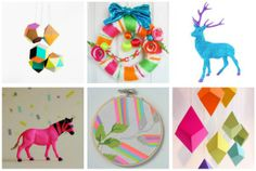 neon christmas - shapes hanging from ceilings, spray paints animals, etc