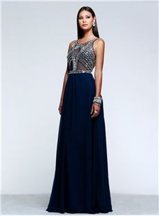 Charming Scoop A-Line Pierced Floor-Length Crystal Evening Dress