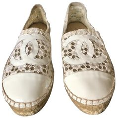 4ea79bb0377 Chanel White Rare Lace Cc Patent Cap Toe Espadrilles - Sold Out Everywhere Flats  Size EU