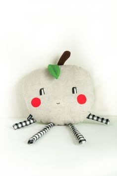 Grey and green 'Happy Apple' soft toy  by Abi Simmons