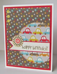 Boy Crazy Paper. OWH Sketch #250. Paper Smooches Stamps. Birthday Card.