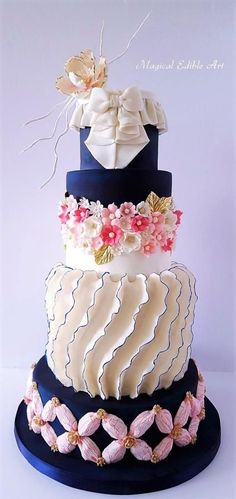 Navy Blue and white cake - cake by Nadia