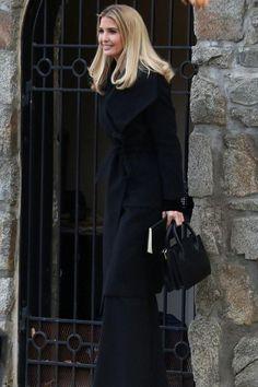 Ivanka Trump wearing Ivanka Trump Tribeca Box Satchel, Tory Burch Clara Pumps and Max Mara Rialto Coat