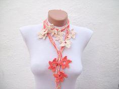 Hand crochet Lariat Scarf Orange Cream Flower Lariat by nurlu