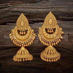 Designer antique jhumka earrings plated with gold polish and made of copper alloy! Antique Earring 119144 www. Gold Jhumka Earrings, Gold Bridal Earrings, Jewelry Design Earrings, Gold Earrings Designs, Gold Jewellery Design, Antique Earrings, Antique Jewelry, Gold Jewelry, Fashion Jewellery