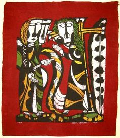 Japanese Art by the artist Sadao Watanabe |Christ Carrying the Cross - red 1964