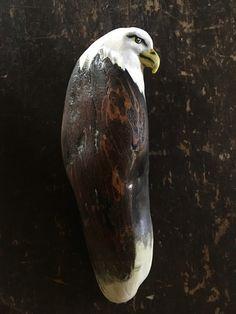 Driftwood sculpture Eagle by Sarah Dawn Morris at TRIBE Driftwood Sculpture, Bald Eagle, Dawn