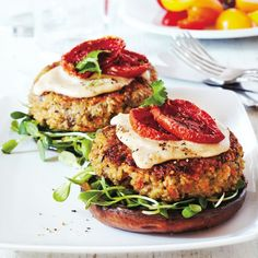Embrace this filler-free, super-nutritious Quinoa-veggie burger. Sandwiched between two grilled portobello mushrooms, it's got healthy and tasty covered.