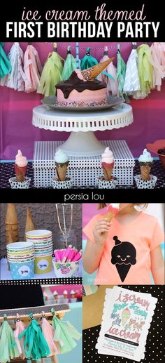 Perfect Party theme for a summer birthday! Ice Cream Themed First Birthday Party