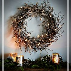 Modern wreaths and garlands from west elm add holiday flair to any home. Think beyond the front door and hang wreaths + garlands inside, too. They add a festive finish to mantels and gallery walls alike. A great gift idea, too! Modern Christmas Decor, Rustic Christmas, Woodland Christmas, Wreaths And Garlands, Holiday Wreaths, Rustic Wreaths, Modern Wreath, Twig Wreath, Stick Wreath