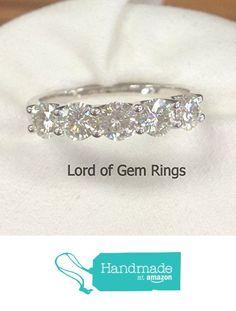 Moissanite Wedding Band Anniversary Ring 14K White Gold 5 Stones 3.5mm Round from the Lord of Gem Rings https://www.amazon.com/dp/B01IDTFX7O/ref=hnd_sw_r_pi_dp_59QHxb87MDWH1 #handmadeatamazon