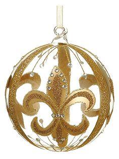 Ball Fleur De Lis Ornament 4 in.