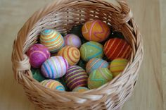 basketful of mama-made felted easter eggs by waldorf mama