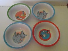 Dr Seuss bowl set of 4, ice cream bowls, melamine bowls by tjmccarty on Etsy