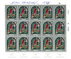 CHAGALL, MARC - Signed sheet of stamps featuring one of Chagall's stained glass windows at Jerusalem's Hadassah University Medical Center