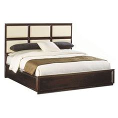 """Dark cocoa-finished bed with a six-paneled headboard. Product: BedConstruction Material: Walnut veneersColor: Dark cocoaFeatures: Six panels on headboard Dimensions: Queen: 59"""" H x 66"""" W x 86"""" DKing: 59"""" H x  78"""" W x 89"""" D  For over 124 years, Bernhardt has represented fine American craftsmanship and lasting design, encapsulating the best of classic and contemporary stylings."""