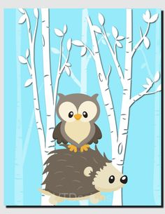 Animal Nursery Decor Hedgehog and Owl Picture Kids Wall Art Baby Girl Room Baby Boy Nursery Birch Trees Children's Room, Art Print by vtdesigns on Etsy