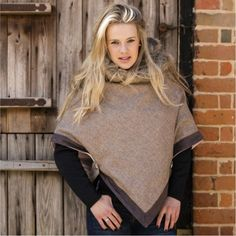 Natural Tweed and Faux Fur Cape by Annabel Brocks. This stunning warm winter cape is made using the finest tweed lined with fleece and a luxury faux fur trimmed collar. Winter Cape, Fur Cape, Fur Trim, Tweed, Faux Fur, Fashion Accessories, Contemporary Clothing, High Neck Dress, Turtle Neck
