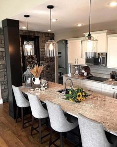Consider Installing Kitchen Islands To Go With Your Unique Kitchen Design – Home Dcorz Kitchen Island Lighting, Kitchen Lighting Fixtures, Kitchen Lights Over Island, Farmhouse Kitchen Light Fixtures, Kitchen Lighting Over Table, Farmhouse Pendant Lighting, Kitchen Pendant Lighting, Glass Pendant Light, Dining Room Lighting