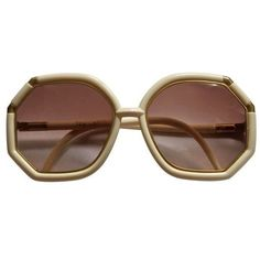 Ted Lapidus cream and gold oversized sunglasses Stylish Sunglasses, Gold Sunglasses, Sunglasses Accessories, Jewelry Accessories, Fashion Accessories, Vintage Sunglasses, Sunnies, Ted Lapidus, Oversized Glasses