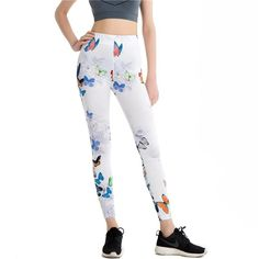 """Butterfly Print Fitness Leggings  Size Fits XS to L:  Waist: 23-34"""" (60-88cm)  Hips: 37-45"""" (96-116cm)  Length: 36.2"""" (92cm)"""