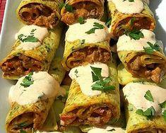 Sertésszűz krumplis palacsintába töltve | Fejes Anikó receptje - Cookpad receptek Meat Recipes, Tacos, Food And Drink, Mexican, Yummy Food, Beef, Cooking, Ethnic Recipes, Pancake