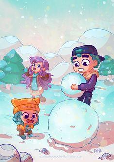 Illustration, Portfolio, Smurfs, Anime, Fictional Characters, Art, Snowball Fight, Art Background, Kunst