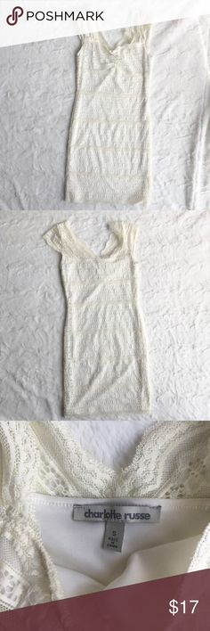 Charlotte Russe Lacy Dress Charlotte Russe Lace  Size small Off-white  Great condition Charlotte Russe Dresses Mini