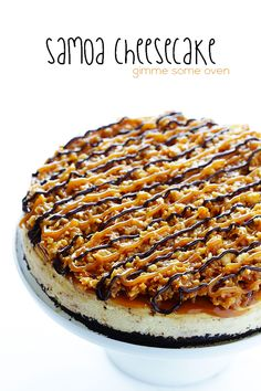 Samoa Cheesecake (a. Caramel Delights Cheesecake) -- made with a delicious classic filling, an Oreo crust, and a heavenly caramel-coconut-chocolate topping. Without the Oreo crust. Samoa Cheesecake, Cheesecake Recipes, Dessert Recipes, Just Desserts, Delicious Desserts, Yummy Food, Gourmet Desserts, Plated Desserts, Yummy Treats
