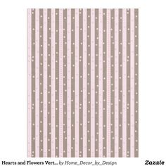 Hearts and Flowers Vertical Stripe Pattern Fleece Blanket