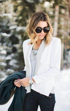 iMyne Fashion: Shopping Your Favorite Designer   Rebecca Minkoff. Hello Fashion Blog. White, Jeweled Blazer. How to wear a blazer. Blazer and Jeans. Layering. with a blazer