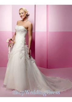 Strapless Beading Organza Train White Bridal Dresses 2013