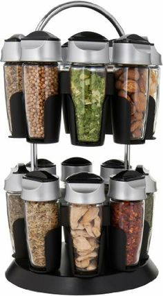 Trudeau Professional 16-Bottle Spice Carousel by Trudeau. $59.99. Carousel design uses minimal counter or pantry space. 16 savory spices included. Caps have sprinkling and pouring option. Includes 16 spice bottles and black and chrome carousel. Glass container and cap will maintain freshness of spice. Trudeau's professional series spice carousel includes sixteen spice bottles in an attractive and functional holder. The glass bottle and specially designed cap will ...