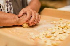 Eat Orecchiette: it is the typical pasta shape from Apulia. Lovely with broccoli, anchovies, garlic and chilli, these traditional concave disks of pasta are made in a unique manner. Flower, water and years of experience.