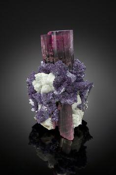 Elbaite with Lepidolite and Albite - California